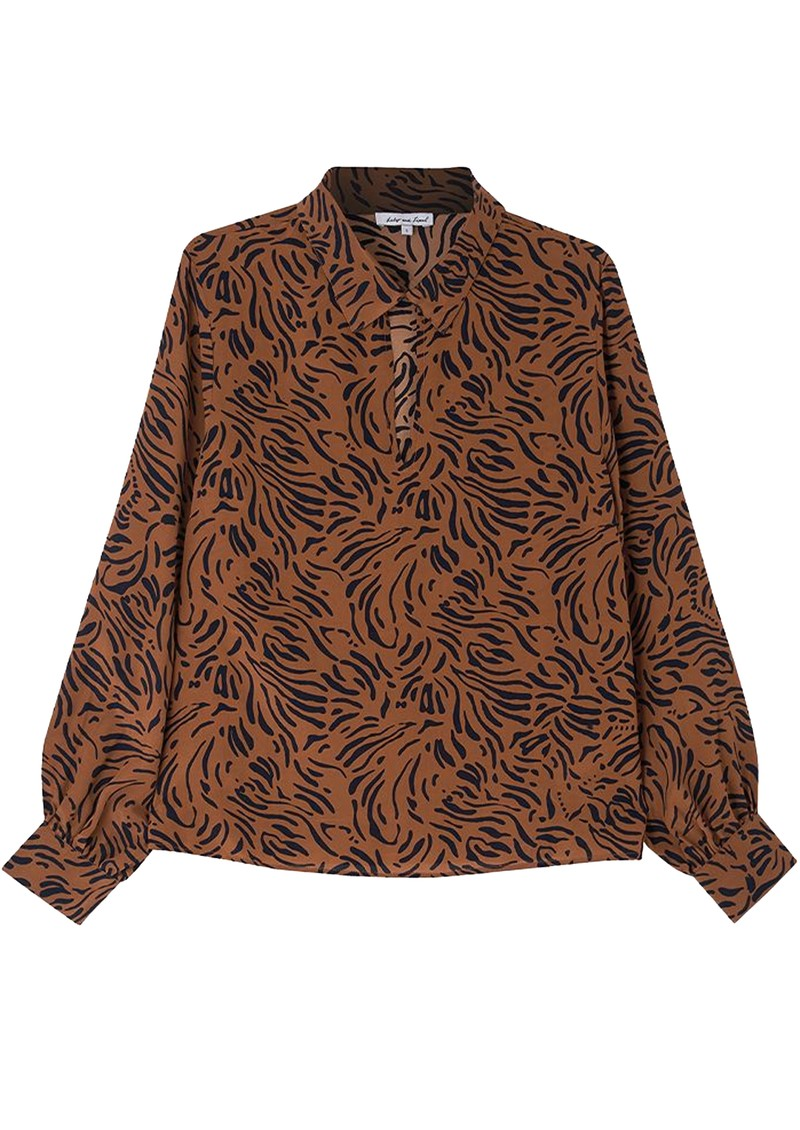 Lily and Lionel Holly Silk Blouse - Zebra Tobacco main image
