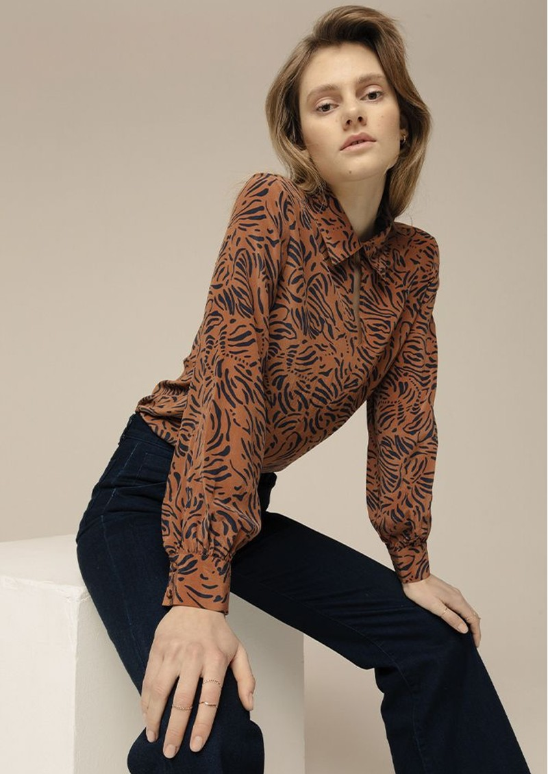 Holly Silk Blouse - Zebra Tobacco main image
