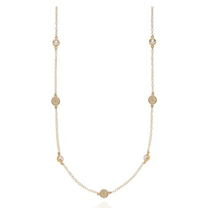 Reimagined Pearl Long Station Necklace - Gold