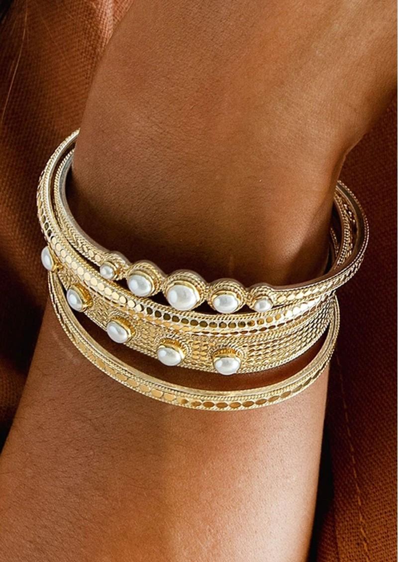 ANNA BECK Reimagined Pearl Multi Stone Cuff - Gold main image