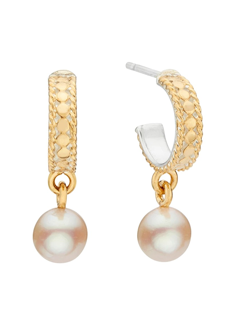ANNA BECK Reimagined Pearl Drop Hoop Earrings - Gold main image