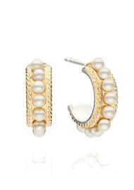 ANNA BECK Reimagined Pearl Small Multi Pearl Hoop Earrings - Gold