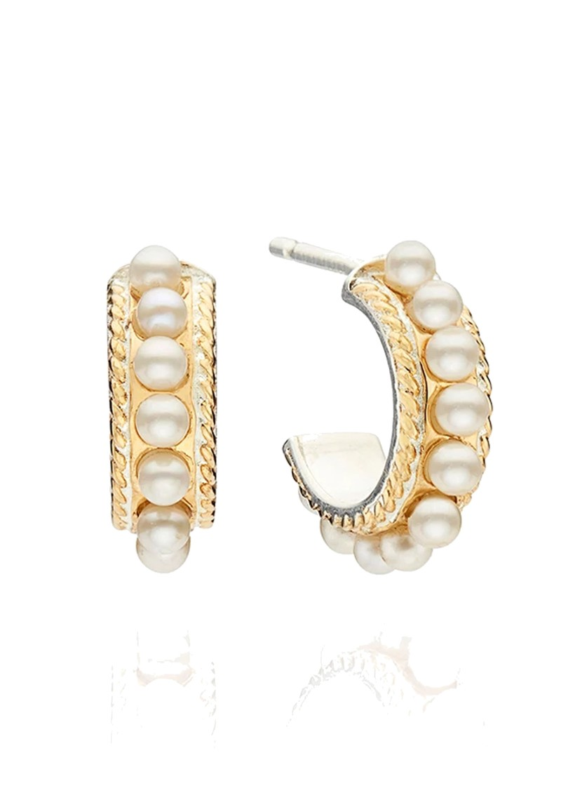 ANNA BECK Reimagined Pearl Small Multi Pearl Hoop Earrings - Gold main image