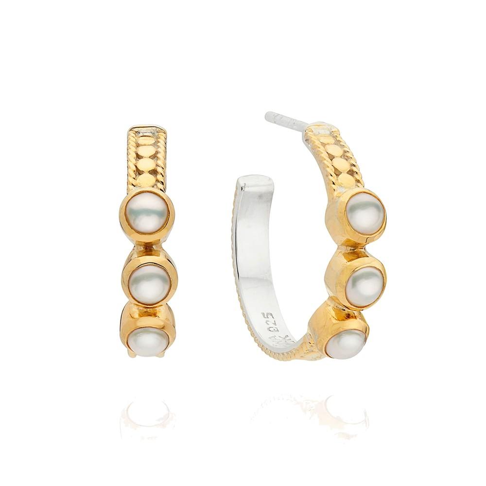 Reimagined Pearl Triple Stone Hoop Earrings - Gold