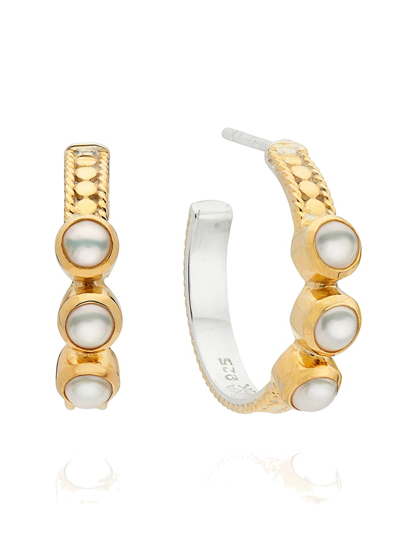 ANNA BECK Reimagined Pearl Triple Stone Hoop Earrings - Gold main image