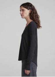 RAG & BONE The Knit Vee T-Shirt - Black