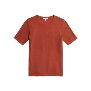 The Rib Slim Cotton Mix Tee - Warm Red
