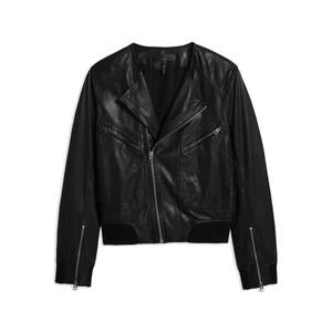 Flight Leather Bomber Jacket - Black