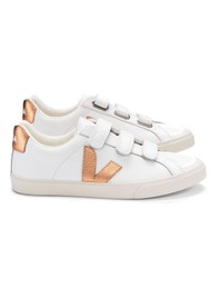 VEJA 3 Lock Leather Trainers - Extra White & Venus