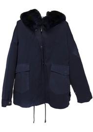 BERENICE Modesto Faux Fur Parka - Navy