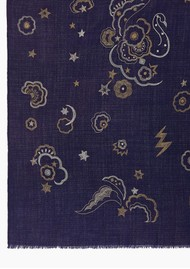 Lily and Lionel Mystical Swan Wool Mix Scarf - Navy