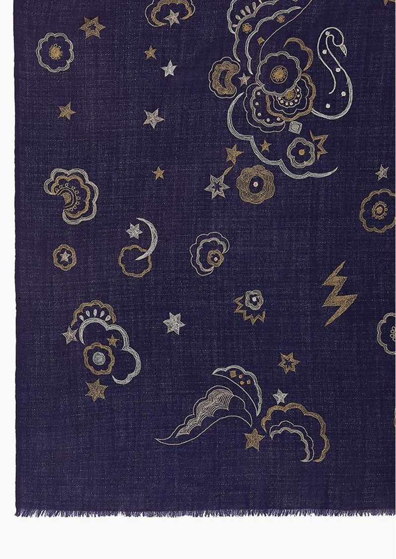 Lily and Lionel Mystical Swan Wool Mix Scarf - Navy main image