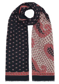Lily and Lionel Tuxedo Paisley Cashmere Mix Scarf - Navy