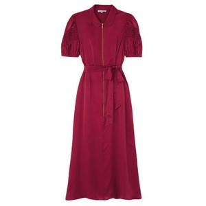 Amelia Silk Satin Dress - Cranberry