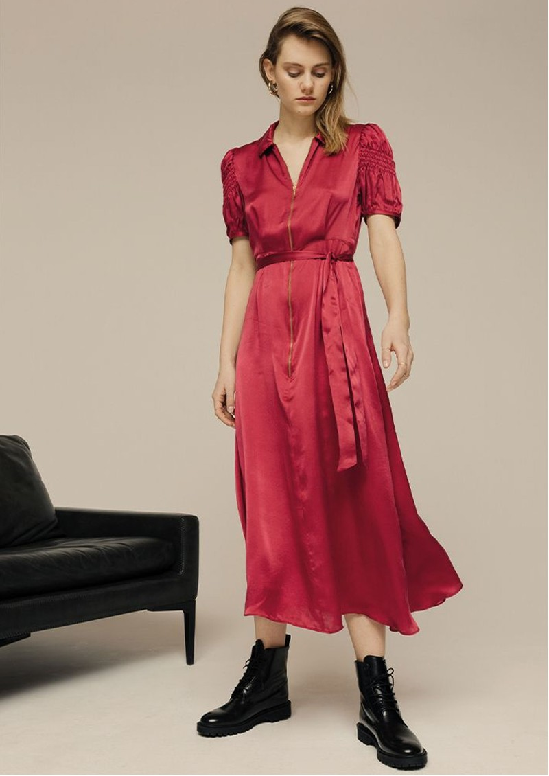 Lily and Lionel Amelia Silk Satin Dress - Cranberry main image
