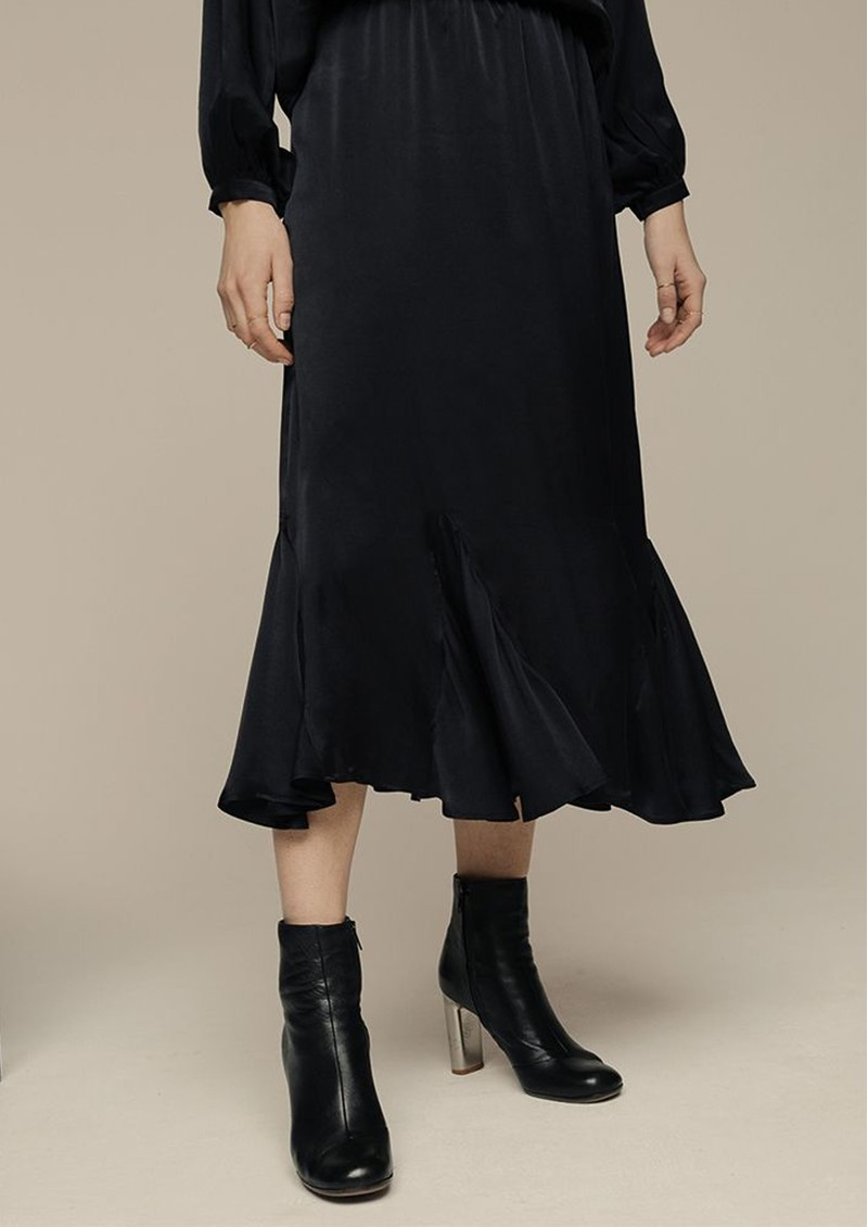 Lily and Lionel Ford Silk Satin Skirt - Black main image