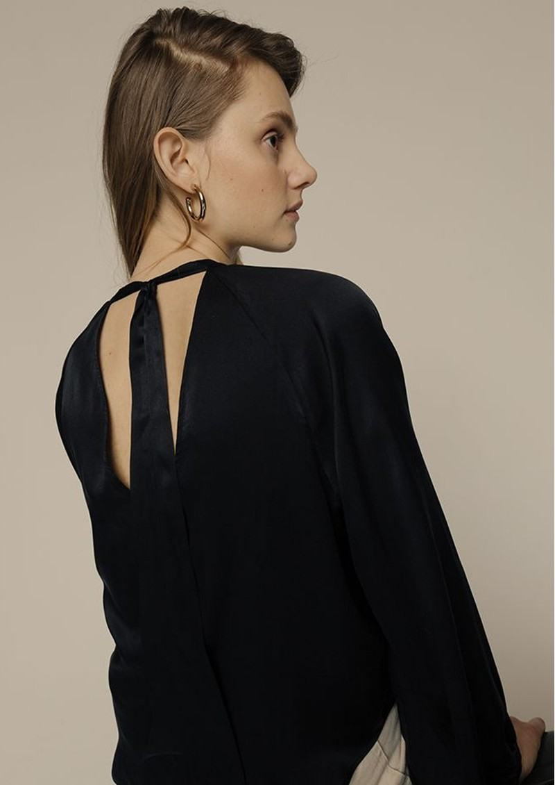 Lily and Lionel Helena Silk Satin Blouse - Black main image
