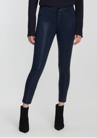 J Brand Alana High Rise Copped Coated Jeans - Stellar Navy