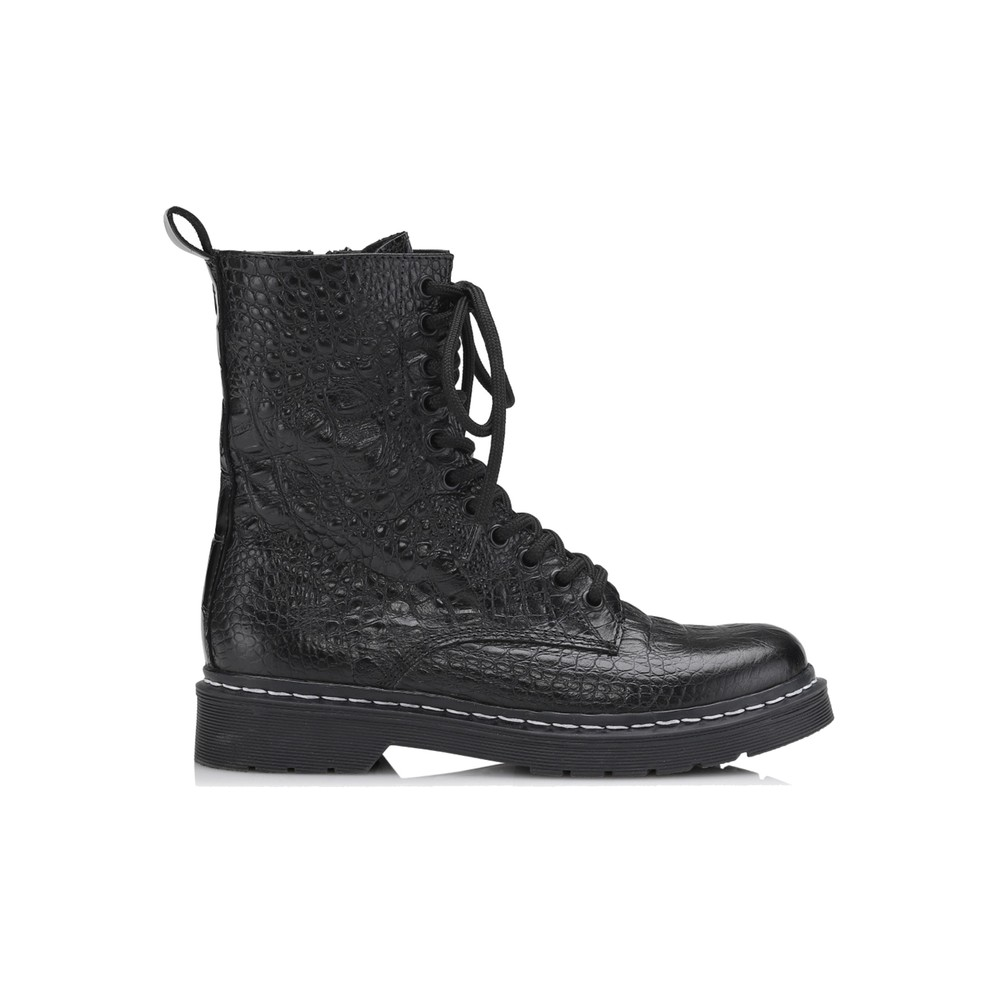 Klara Crocodilo Leather Boots - Black