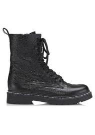 SHOE BIZ COPENHAGEN Klara Crocodilo Leather Boots - Black