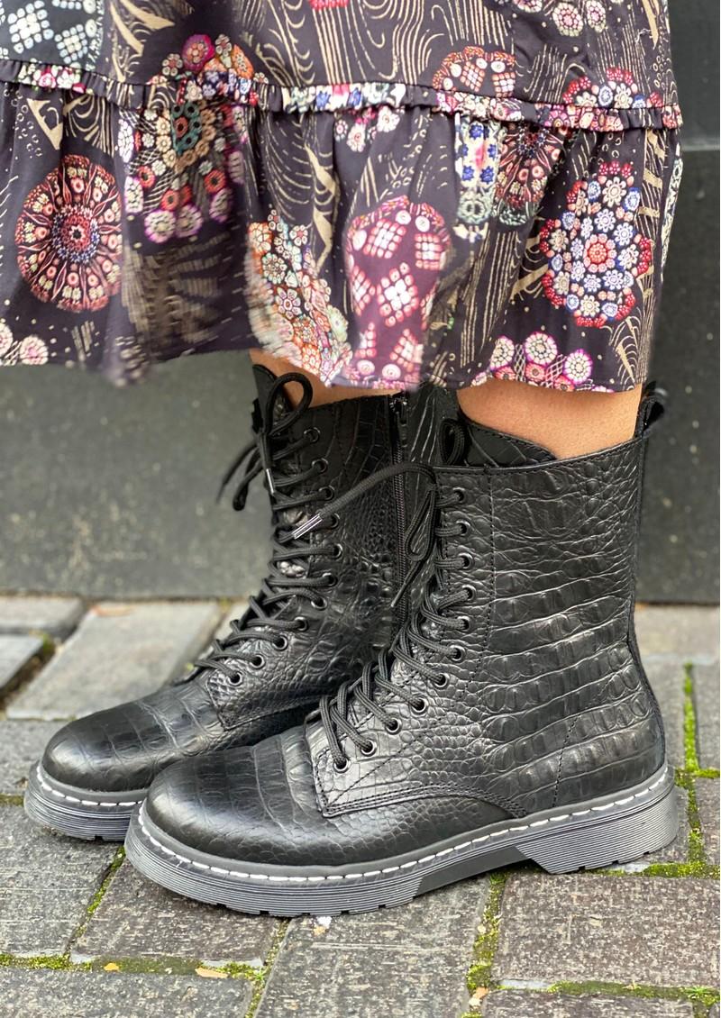 SHOE BIZ COPENHAGEN Klara Crocodilo Leather Boots - Black main image
