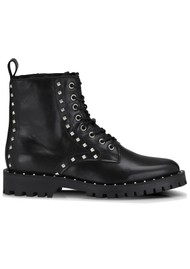 SHOE BIZ COPENHAGEN Naella Studded Leather Boots - Black