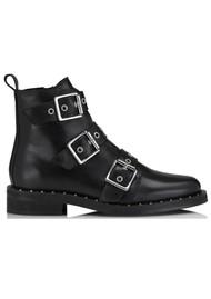 SHOE BIZ COPENHAGEN Nubris Leather Buckle Boots - Black