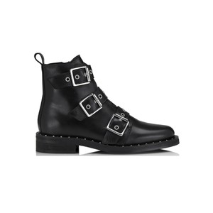 Nubris Leather Buckle Boots - Black