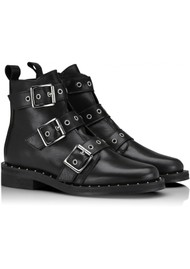 SHOE BIZ COPENHAGEN Nubris Leather Buckle Boots - Black