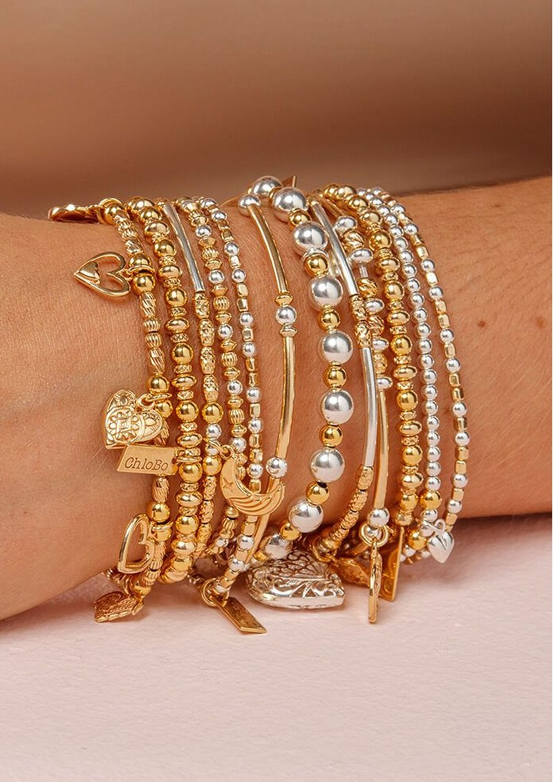 ChloBo Dainty Pumpkin Adjuster Bracelet - Gold & Silver main image