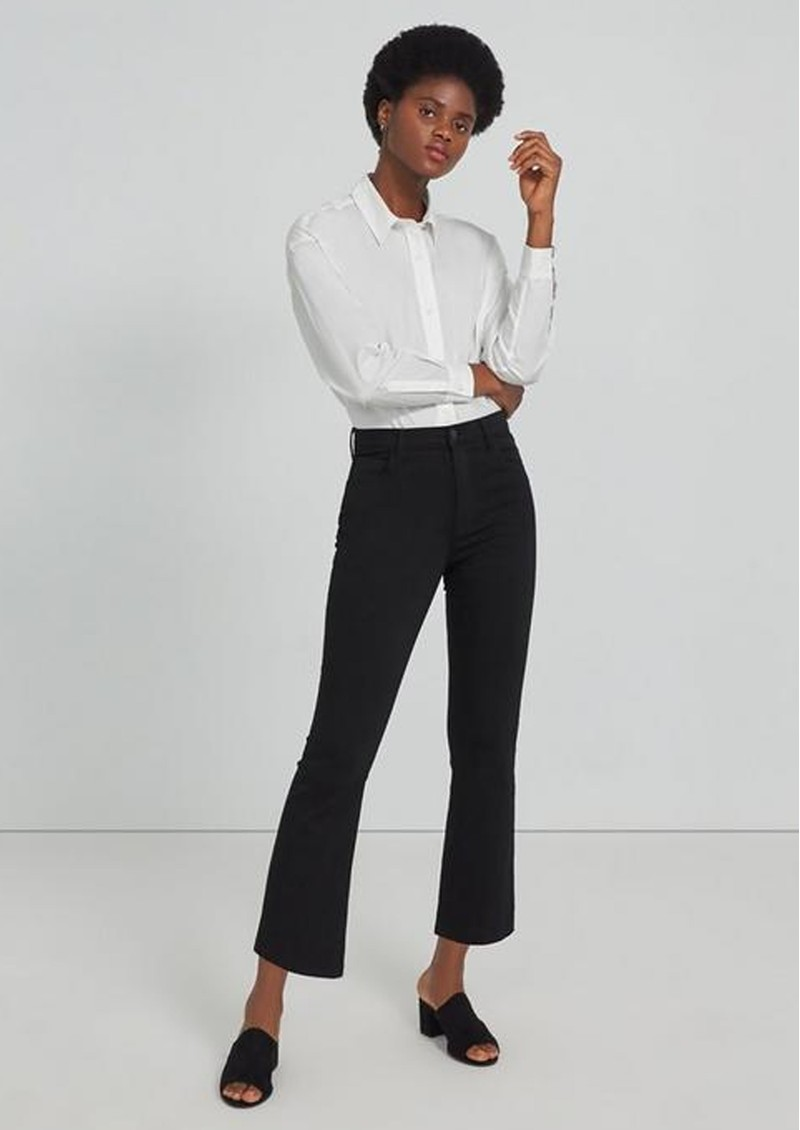 J Brand Franky High Rise Cropped Bootcut Jeans - Seriously Black main image