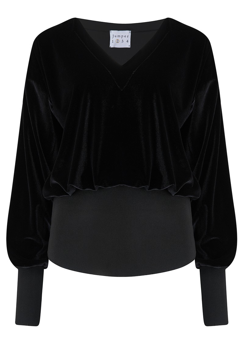 JUMPER 1234 Velvet V Neck Top - Ebony main image