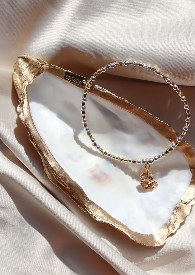 ChloBo Curved Feather Bracelet - Gold & Silver main image