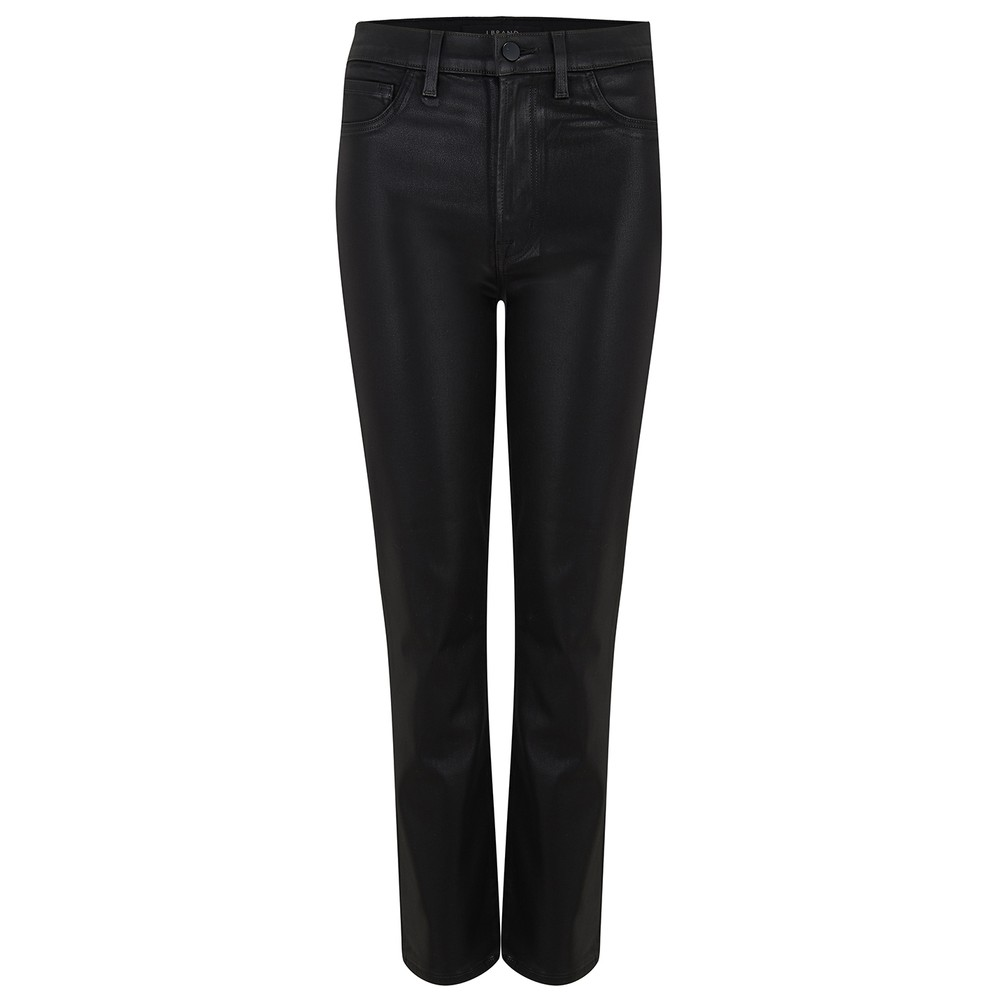 Alma High Rise Straight Leg Coated Jean - Stellar Black