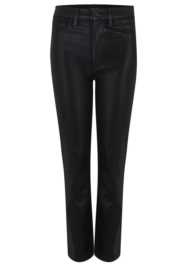 J Brand Alma High Rise Straight Leg Coated Jean - Stellar Black main image