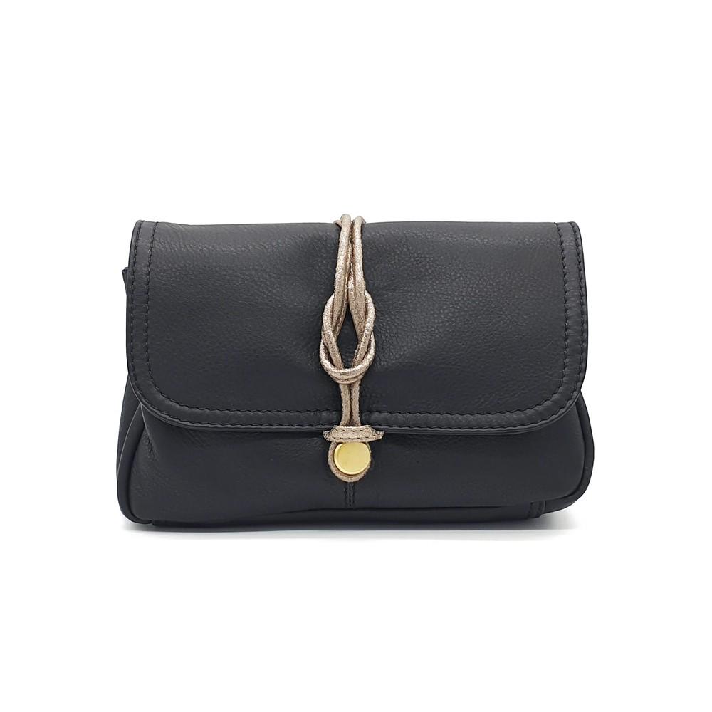 Delfine Leather Clutch - Black