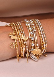 ChloBo Decorated Elephant Bracelet - Gold & Silver