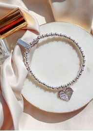 ChloBo Didi Sparkle Heavenly Heart Bracelet - Silver