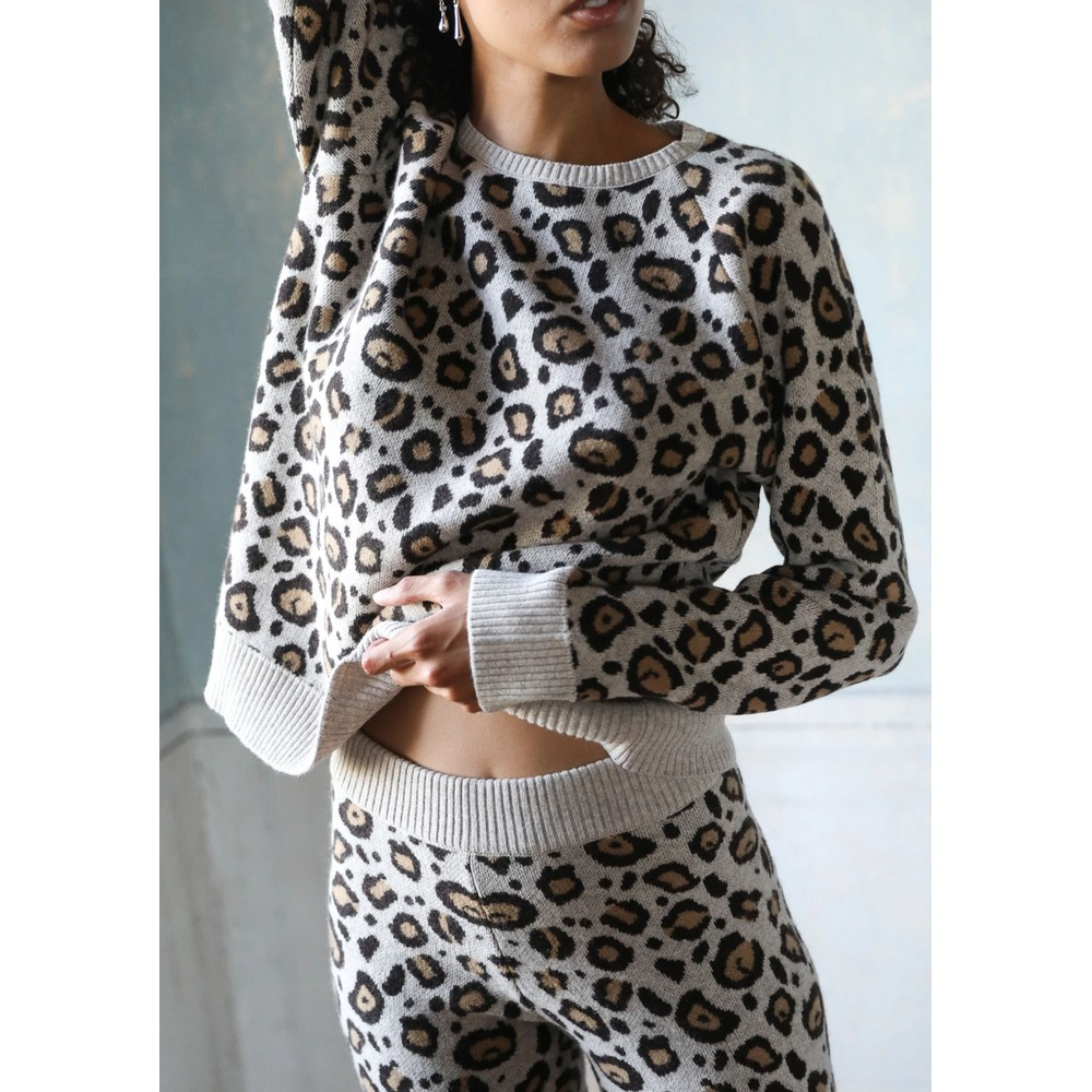 Cashmere Leopard Sweater - Brown Leopard