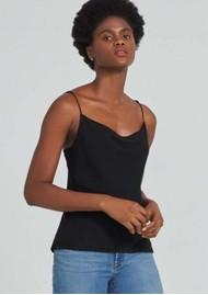 J Brand Finley Silk Cowl Neck Cami Top - Black