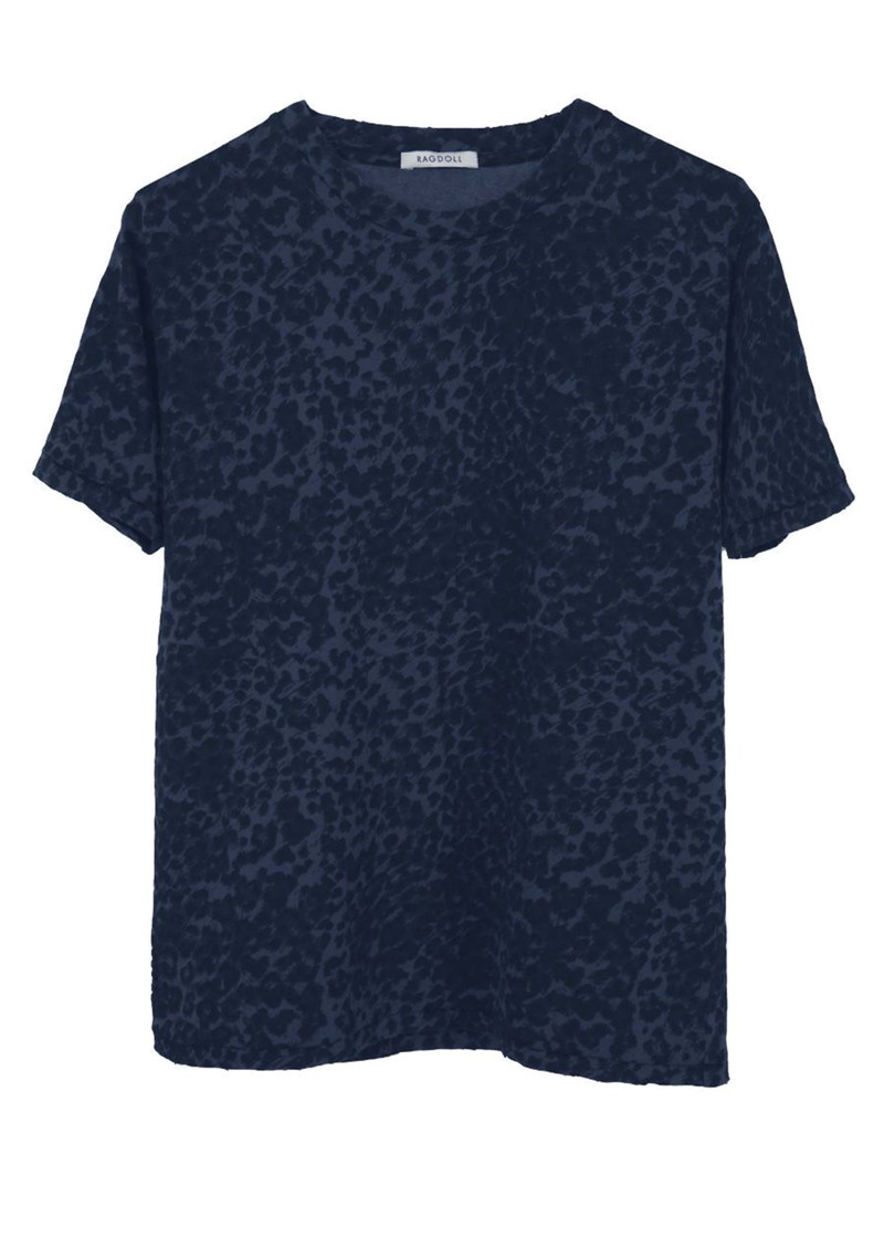 RAGDOLL Easy Vintage Cotton Tee - Navy Leopard main image