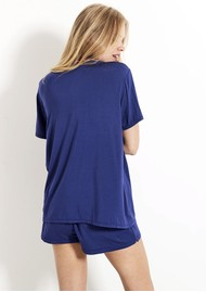 STRIPE & STARE Bedshort Pyjama Set - Navy & Pink