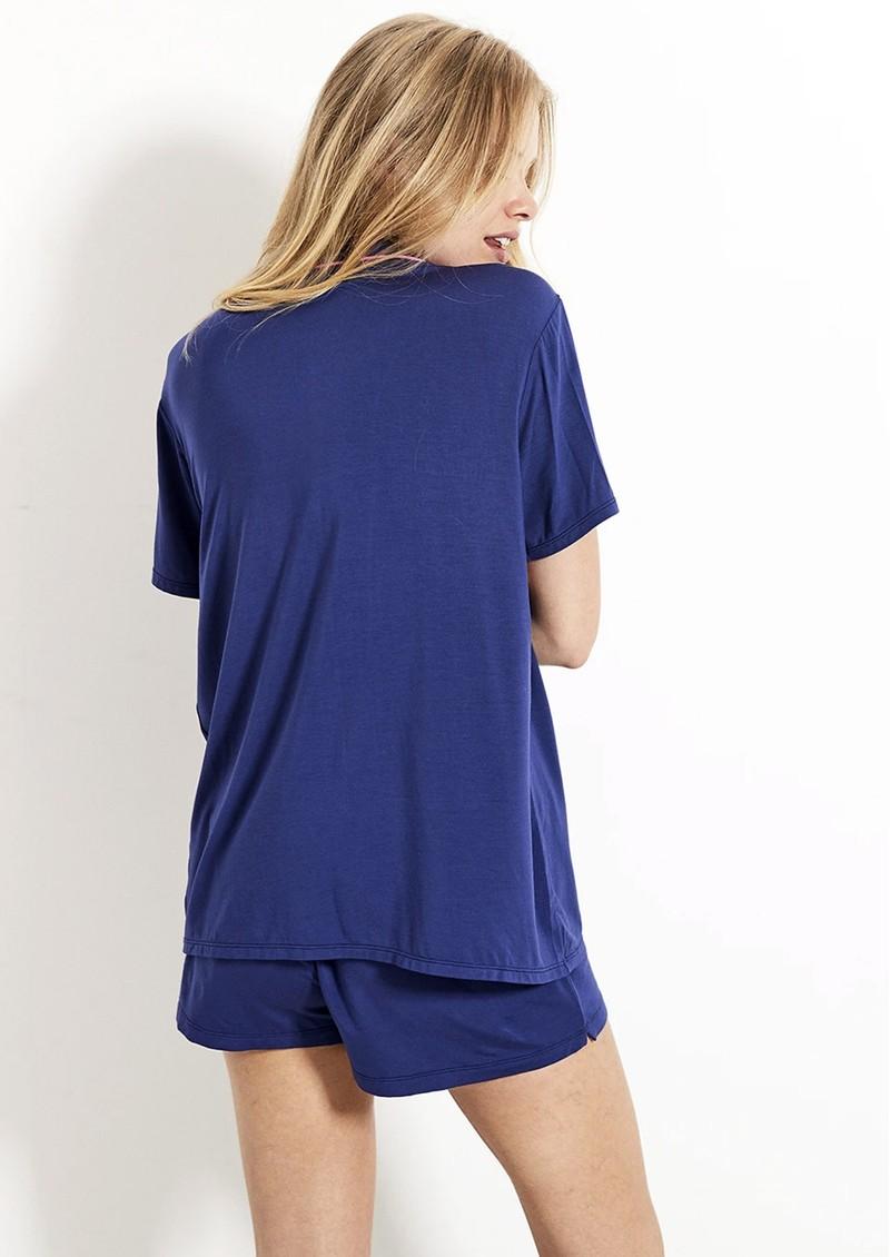 STRIPE & STARE Bedshort Pyjama Set - Navy & Pink main image