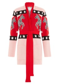 HAYLEY MENZIES Carousel Cotton Jacquard Cardigan - Red & Pink