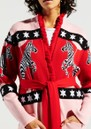 HAYLEY MENZIES Carousel Cotton Jacquard Cardigan - Red & Pink