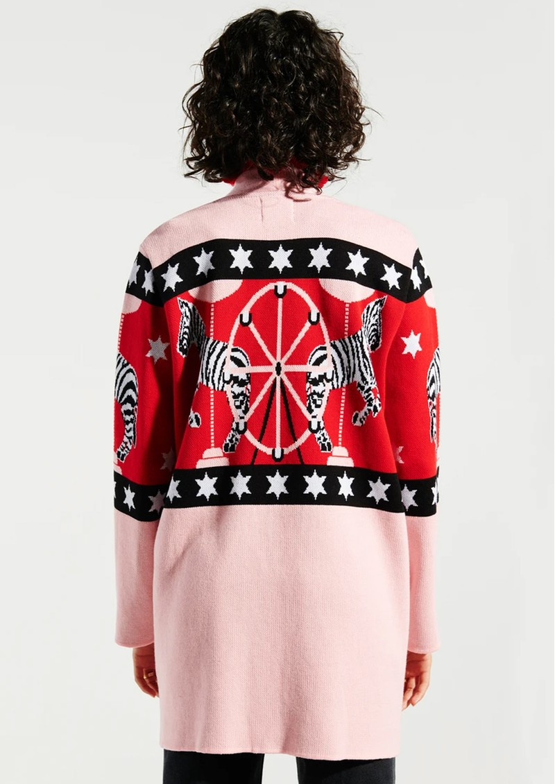 HAYLEY MENZIES Carousel Cotton Jacquard Cardigan - Red & Pink main image
