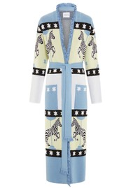 HAYLEY MENZIES Carousel Cotton Jacquard Duster Cardigan - Blue