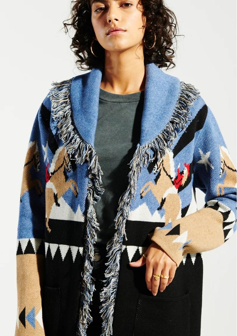 HAYLEY MENZIES Sunrise Rodeo Merino Jacquard Cardigan - Blue main image