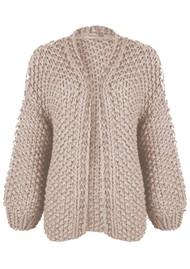 MAISON ANJE Loslo Wool Mix Chunky Knit Cardigan - Sand