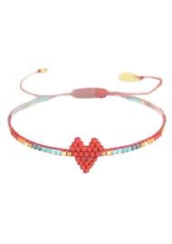 MISHKY Heartsy Row Beaded Bracelet - Red Multi
